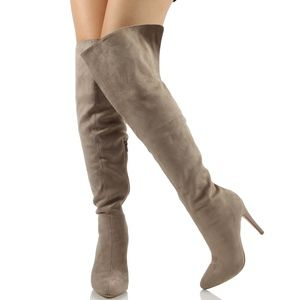 Shoes - Paprika Clay over the Knee open cuff boot